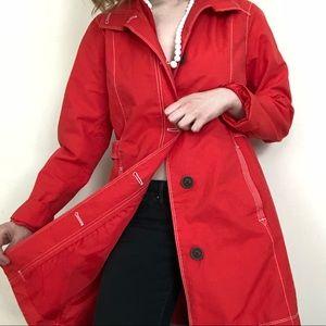 Vintage Eddie Bauer red trench coat